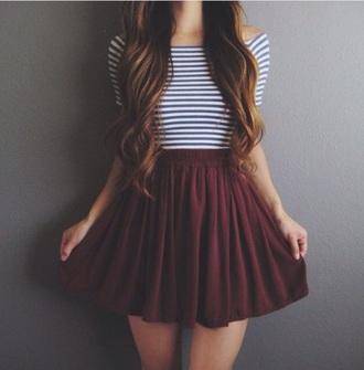 skirt skater skirt burgundy stripes striped top maroon skirt beautiful chic style shirt