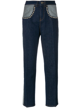 jeans studded women spandex cotton blue