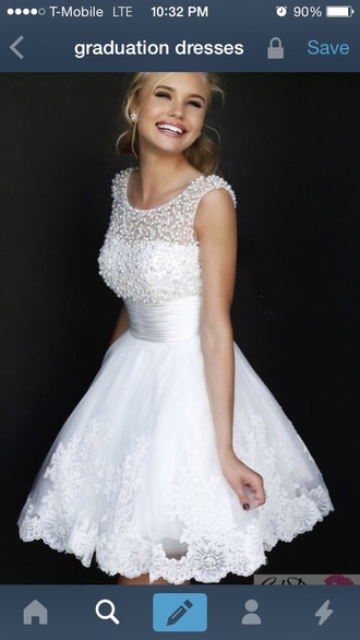dress white dress pearl lace dress graduation dress little white dress