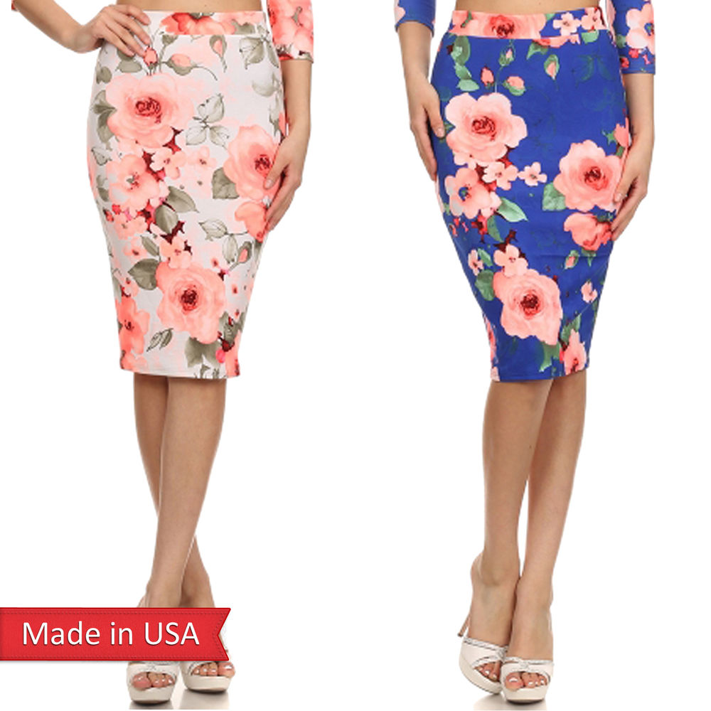 Ivory Royal Blue Flower Print Popcorn Fabric Fitted Midi Pencil ...