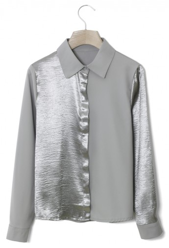 Silver Contrast Crepe Shirt - Retro, Indie and Unique Fashion