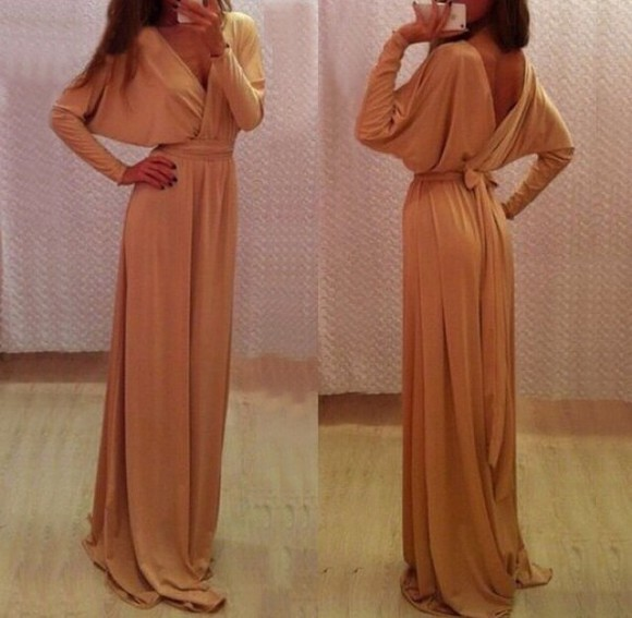 maxi dress nude dress long sleeve dress long sleeve maxi dress