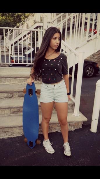 shirt black crop top polka dots