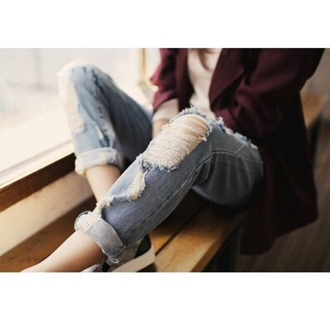 jeans denim ripped jeans boyish style girl clothes burgundy jacket burgundy jacket cardigan cardigans burgundy cardigans