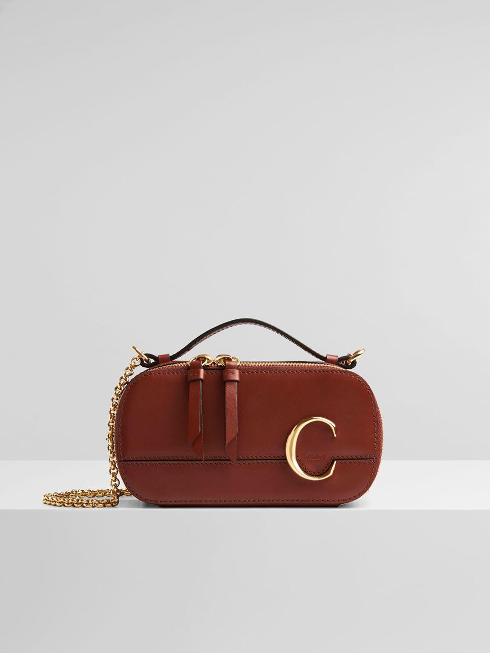 CHLOÉ Chloé C mini vanity bag Women's Sepia Brown 100% Calf-skin leather
