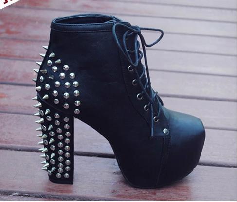 New hot vente 2014 femmes dentelle cloutés rivets. rivtes bottines talons hauts chaussures plateforme bottes dans de sur aliexpress.com