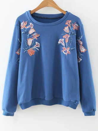 sweater blue long sleeves casual fall outfits trendy cool zaful