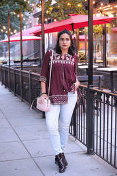 tanvii,blogger,top,jeans,shoes,jacket,bag,jewels,gucci bag,fall outfits,white pants,pink bag,ankle boots