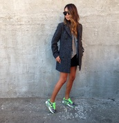 nike,nike running shoes,coat,green,sunglasses,skirt,jumper,pea coat,grey