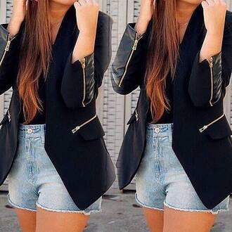 jacket black jacket material leather jacket zips adore
