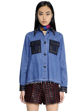 shirt denim shirt denim embellished cotton blue top