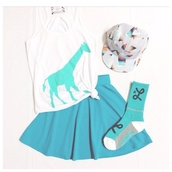 skirt,teal,mini skirt,underwear,hat,tank top