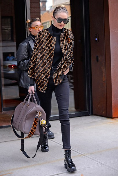 jacket pants gigi hadid bag model off-duty streetstyle milan fashion week 2018 fashion week bomber jacket