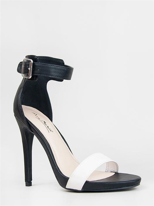 NEW ANNE MICHELLE Women Hot Ankle Strap High Heel Sandal sz White Black Perton17