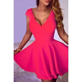 dress red cute feminine fashion style trendy hot sexy girly rose wholesale-ma girl girly wishlist trendsgal pink pink dress plune dress plunge dress plunge neckline plunge v neck flowy dress