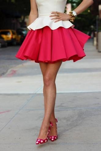 dress elegant kittenish dress red-white dress red skirt white blouse cute dress folds short dress sweetheart dress 2 colours waves skirt pink