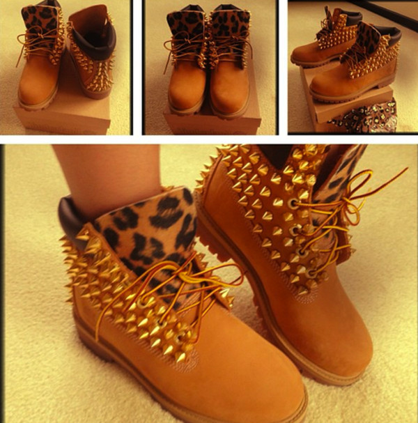 shoes studs boots leopard