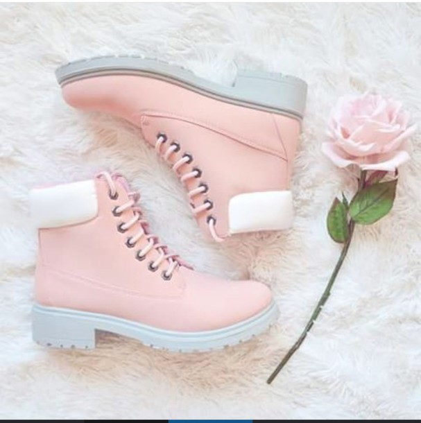 Shoes: pink, boot, boots, white, pastel, tumblr, cute ...