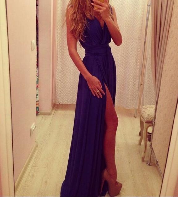 Soft cute long sexy show body dress purple chiffon dress 273