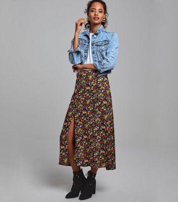 Black Ditsy Floral Midi Skirt | New Look