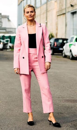 jacket blazer pink blazer pants mules black mules black mules shoes