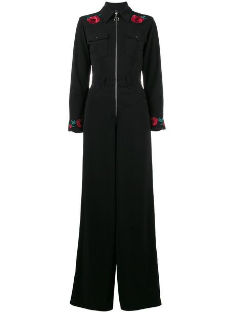 Adam Selman jumpsuit embroidered rose women spandex black rose embroidered