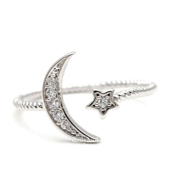 jewels crest ring moon ring crest and star star and moon adjustable ring stretch ring woman ring holiday gift ring wedding jewelry