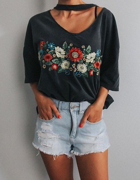 shirt gray floral embroidered