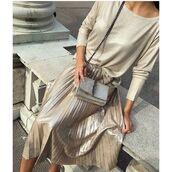 skirt,tumblr,midi skirt,pleated skirt,gold skirt,top,gold top,long sleeves,bag,chain bag,gold