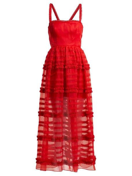 EMILIO DE LA MORENA Jade silk and lace gown in red