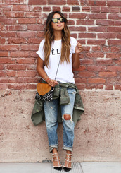 bag,valentino rockstud,white t-shirt,quote on it,ripped jeans,blue jeans,mirrored sunglasses,crossbody bag,army green jacket,sincerely jules,t-shirt,jeans,jacket,shoes,boyfriend jeans,blouse,shirt,celine