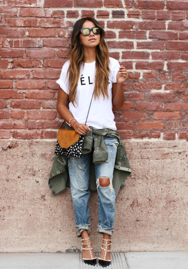 bag valentino rockstud white t-shirt quote on it ripped jeans blue jeans mirrored sunglasses crossbody bag army green jacket sincerely jules t-shirt jeans jacket shoes