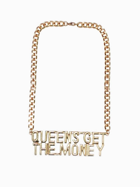 Mixed Curb Chain Necklace With QUEEN'S GET THE MONEY letters | Choies