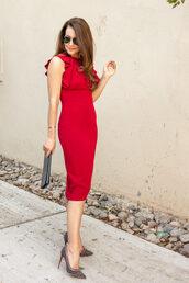 dallas wardrobe // fashion & lifestyle blog // dallas - fashion & lifestyle blog,blogger,dress,shoes,bag,sunglasses,fall outfits,red dress,pumps,clutch