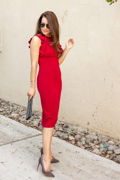 dallas wardrobe // fashion & lifestyle blog // dallas - fashion & lifestyle blog blogger dress shoes bag sunglasses fall outfits red dress pumps clutch