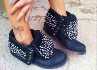shoes studded shoes boots studs woman