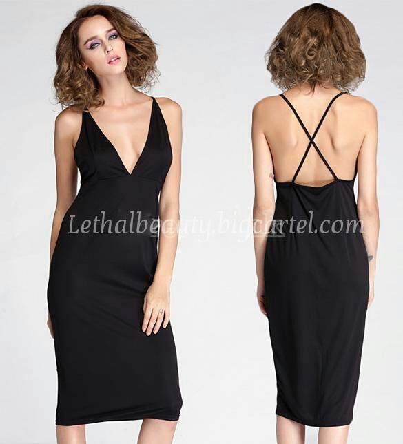 Plunge spaghetti strap dress