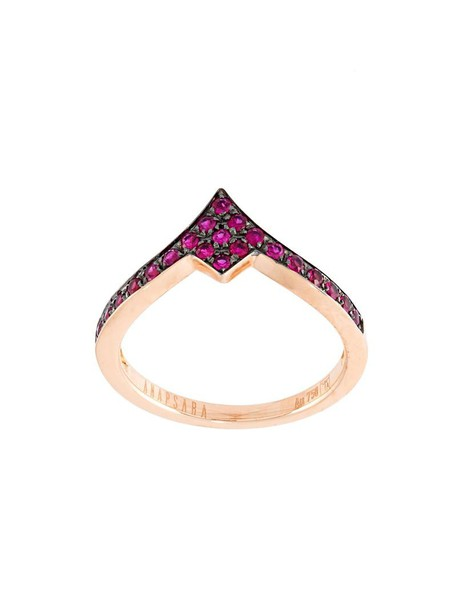 women ring gold purple pink red jewels