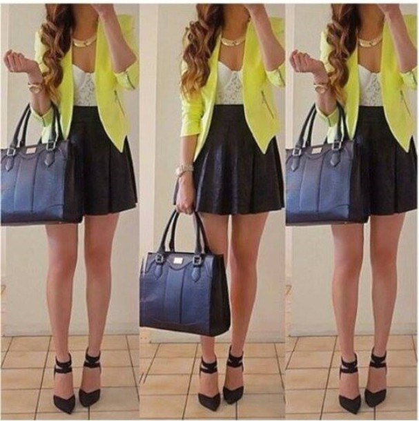 jacket skirt shoes necklace bag