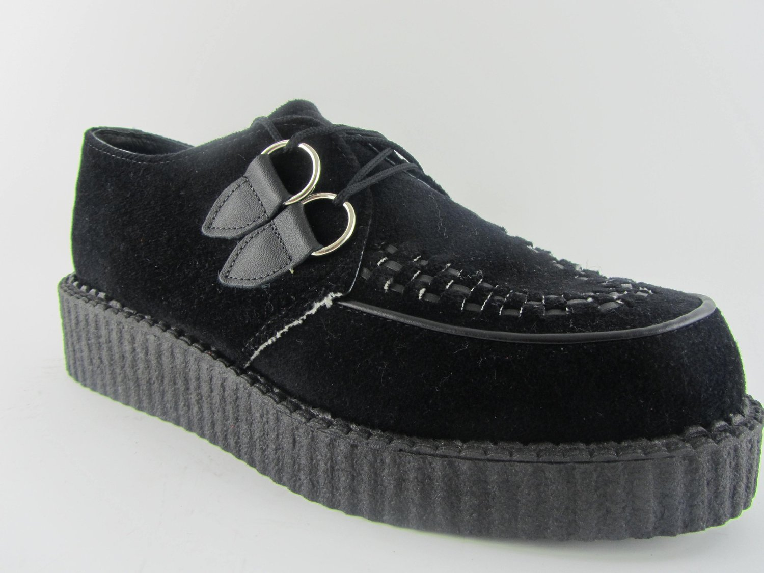 fa7e389c940b4 CREEPERS BLACK VELVET Low Thin Sole Retro Brothel Creeper Shoes Round Toe D  Ring: Amazon.co.uk: Shoes & Bags