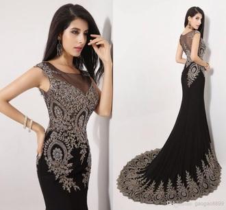 prom dress black dress beads long dress long beading black prom dress