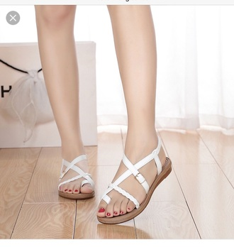 shoes cute sandal white sandals thong sandal cute white sandal strappy sandals cute white strappy sandal cute flat sandals braided sandal