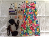 dress,colorful,clothes,bodycon dress,neon,floral,short dress,shoes