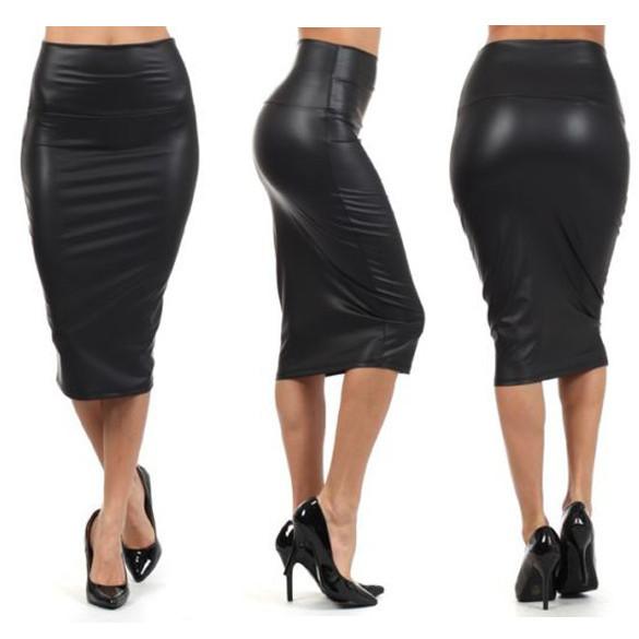 Om leather look midi skirt