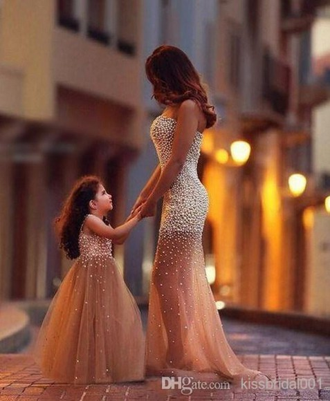 pearl kids fashion bustier dress champagne dress