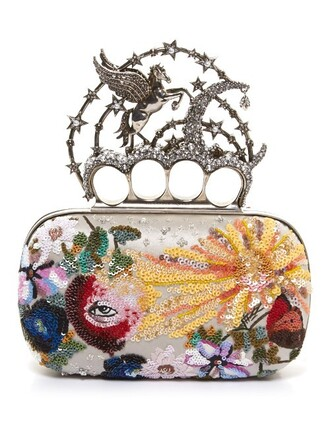 unicorn embellished clutch knuckle clutch bag