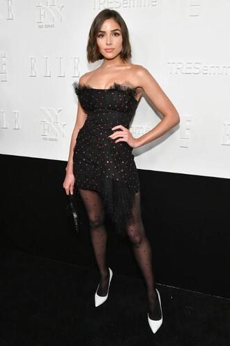 dress mini dress pumps olivia culpo strapless tights nyfw 2017 ny fashion week 2017 polka dots