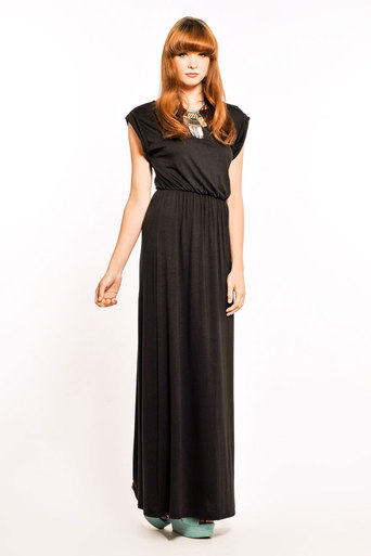 Womens Jennifer Roll Back Maxi in Black | Pop Couture