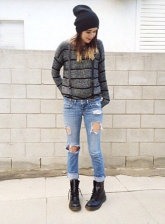 hat black boots black hat stripes long sleeves grey sweater used look jeans blue wash ripped skinny jeans ripped jeans skinny jeans drmartens stylish hipster sweater hipster style blogger jeans blogger bloggerstyle lovely instagram fashion acacia cool black shoes sweater ripped/distressed/destroyed jean shorts shirt shoes jewels