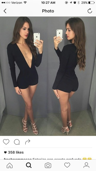 romper romper black middle cut vcut black romper plunge v neck plunge neckline black long sleeves long sleeve romper spring outfits fall outfits winter outfits party outfits sexy sexy outfit bodycon cute girly date outfit clubwear